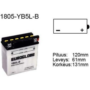 "90-0004 | Euroglobe MP-akku 12V 5Ah ""YB5L-B"" (P122xL61xK131mm)"