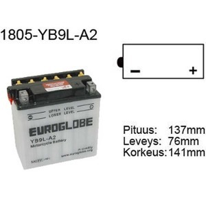 "90-0035 | Euroglobe MP-akku 12V 9Ah ""YB9L-A2"" (P137xL76xK141mm)"